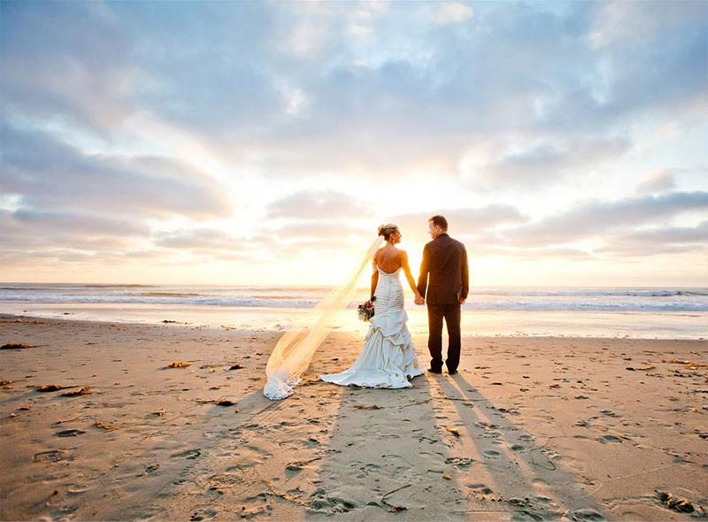 A wedding couple on the beach