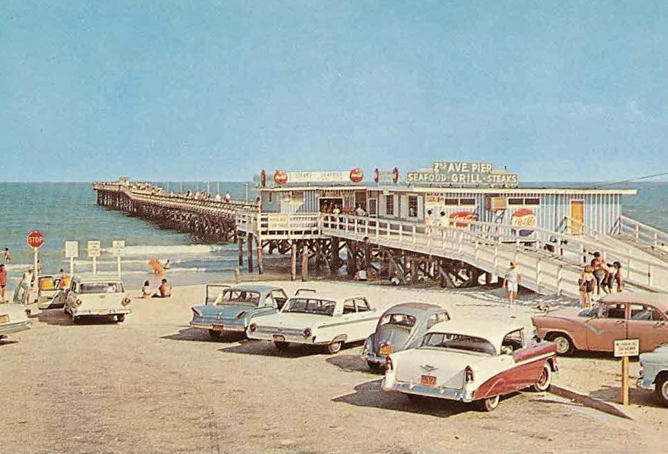 An old photo of a Myrtle Beach restaurant and pier